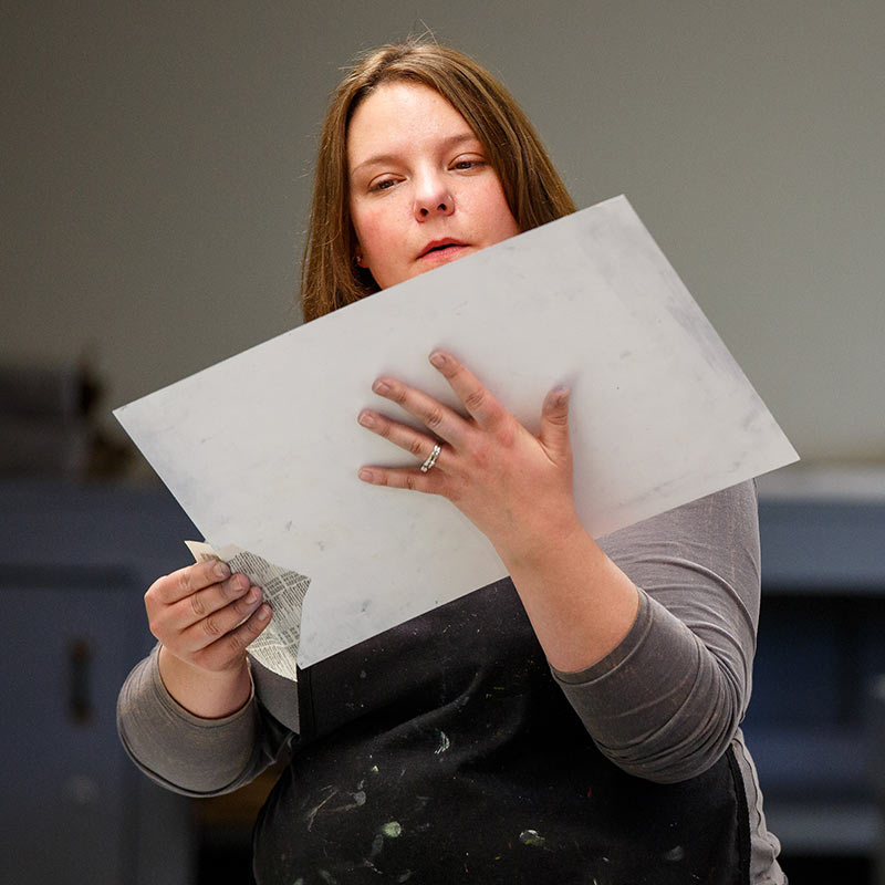 SOU Art Student Learning Print Making Process