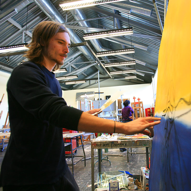 SOU Art Student in Painting Studio