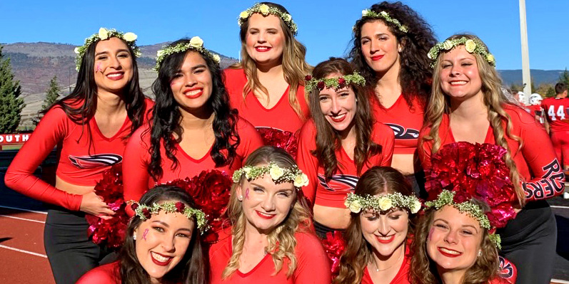 Southern Oregon Raiderettes Cheerleaders on the SOU Football Field